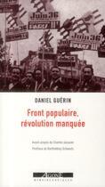 Couverture du livre « Front populaire, révolution manquée » de Daniel Guerin aux éditions Agone