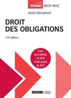 Couverture du livre « Droit des obligations (16e édition) » de Alain Benabent aux éditions Lgdj