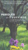 Couverture du livre « Paroles de Provence » de Vincent Motte et Marc Dumas aux éditions Albin Michel