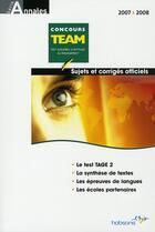 Couverture du livre « Concours team 2007-2008 » de Collectif aux éditions Hobsons