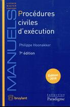Couverture du livre « Procédures civiles d'exécution » de Philippe Hoonakker aux éditions Bruylant