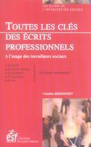 Couverture du livre « Toutes les cles des ecrits professionnels » de Brissonnet C aux éditions Esf Editeur