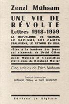 Couverture du livre « Une vie de révolte ; lettres 1918-1959 » de Zenzl Muhsam aux éditions La Digitale