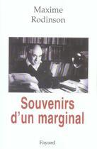 Couverture du livre « Souvenirs d'un marginal » de Maxime Rodinson aux éditions Fayard