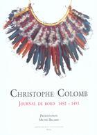 Couverture du livre « Journal de bord 1492-1493 » de Christophe Colomb aux éditions Actes Sud