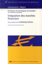 Couverture du livre « Intégration des marchés financiers » de Servais D aux éditions Universite De Bruxelles