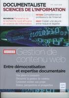 Couverture du livre « Documentaliste sciences de l'information vol 45 n 3 aout 2008 dossier gestion de contenu web entre » de Collectif aux éditions Lavoisier Diff
