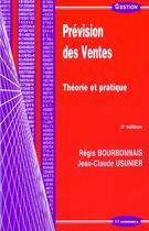Couverture du livre « Prevision Des Ventes ; 3e Edition » de Regis Bourbonnais aux éditions Economica