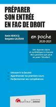 Couverture du livre « Préparer son entrée en fac de droit (édition 2020/2021) » de Kevin Henocq et Benjamin Galeran aux éditions Gualino