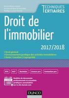 Couverture du livre « Droit de l'immobilier (édition 2017/2018) » de Muriel Mestre Mahler et Nadege Licoine Hucliez et Emmanuel Beal Dit Rainaldy aux éditions Dunod