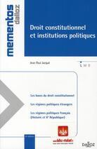Couverture du livre « Droit constitutionnel et institutions politiques (8e édition) » de Jean-Paul Jacque aux éditions Dalloz