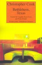 Couverture du livre « Bethlehem, texas » de Christopher Cook aux éditions Rivages
