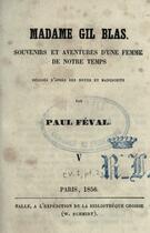 Couverture du livre « Madame Gil Blas » de Paul Féval (père) aux éditions